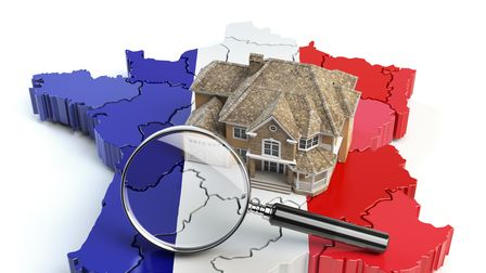 House and loupe on the map of France in colors of french flag. Search a house for buying or rent con