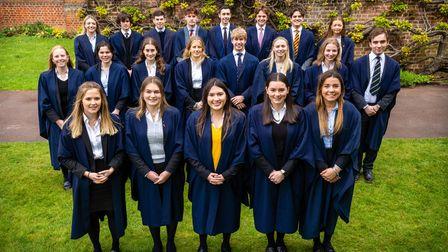 A group of Felsted School's A Level students standing on the grass, Felsted, Essex