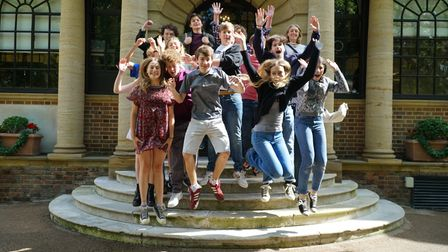 UCS Hampstead pupils perform the now-ritual celebratory jump after receiving their A Level results