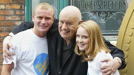 Steven Arnold as Ashley Peacock, pictured with 'dad' Fred Elliott andhis second wife Claire, played by Julia Haworth