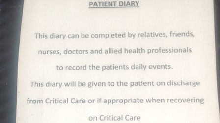 Intensive care patients at the Whittington receive a Patient Diary - composed by their carers