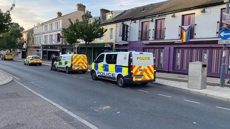 """Three police vehicles remain on the scene after officers were called to a """"late night incident"""" on Prince of Wales Road"""