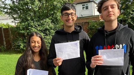 Claremont High's top scorers Nishi Shah, Krishi Mistry and Oliver Caushi