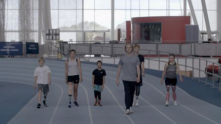 Thomas, Olivia, Harvey, Jonnie Peacock, Mitchell and Maisie in the first episode of Jonnie's Blade Camp on Channel 4.