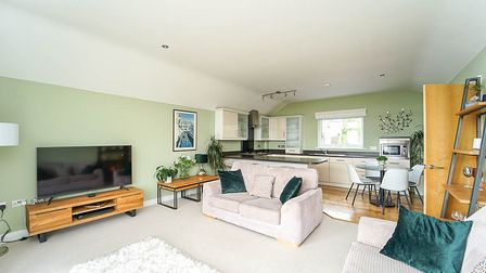 open-plan sitting room-kitchen with light green walls, white ceiling, cream carpet in sitting room, laminate in kitchen