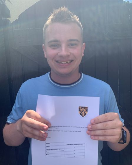 Harry Briffa with his A Level results at Helena Romanes School and Sixth Form Centre, Great Dunmow, Essex
