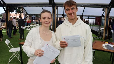 Head Girl Daisy and Head BoyBen celebrate A Levels at New Hall School, Chelmsford, Essex
