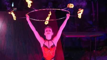 One of the performers from Circus Cortex performing with a fire ring in Lowestoft. Picture: Danielle