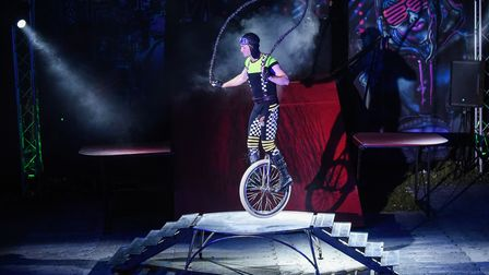 A Circus Cortex performer doing his act skipping on a unicycle during their show in Lowestoft. Pictu