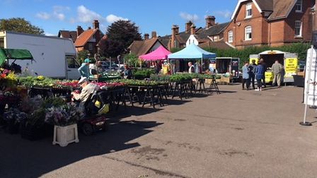 Traders selling their wares at Cromer's Friday market, re