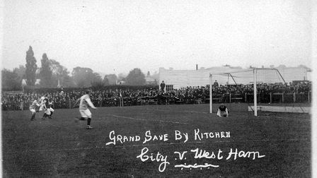City v West Ham in 1905 at Newmarket Road. City won 1-0.