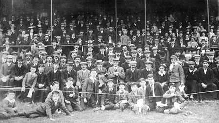 The spectators at Newmarket Road in 1906.