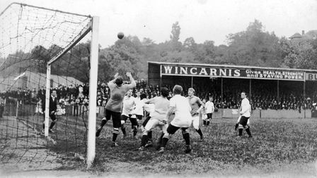 An action picture taken at The Nest in 1913. Norwich were playing Watford and won 3-1.