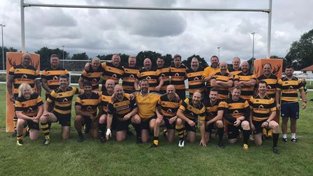 The Letchworth squad who came together to honour the memory of former club chairman and county president Graham Walker