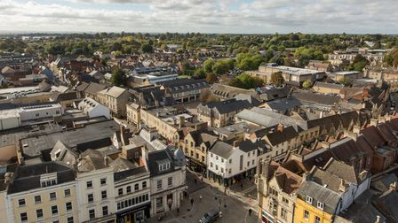 Cirencester town centre aerial view, Gloucestershire, England