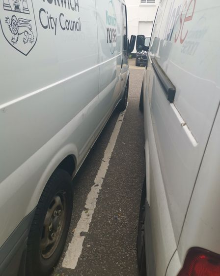 Two Norse city council vans parked in Brooke Place in July