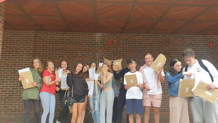 Marshalls Park Academy students celebrate their GCSE results.