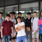 Students picking up their results at Nailsea School.