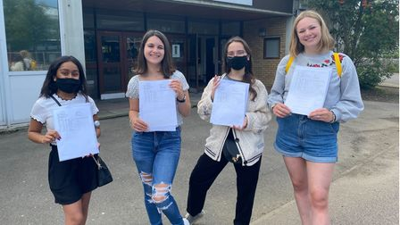 Students at Kantor King Solomon High School celebrating their GCSE results today (August 12)