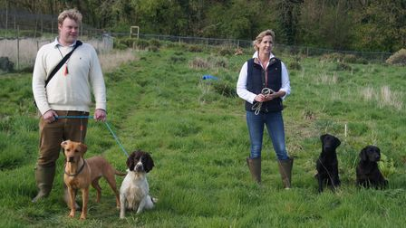 A man stood with two dogs on leads next to a woman with two dogs on leads in a field