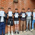 Backwell School students picking up their results.
