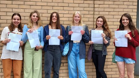 Backwell School students picking up their GCSE results.