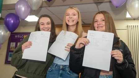 Students celebrating their GCSE results at Broadoak Academy.