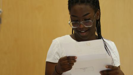 An Urswick School student reads her GCSE results.