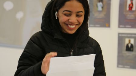 An Urswick student smiles upon seeing her GCSE grades.