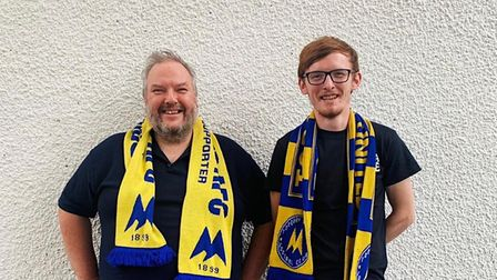 Torquay United supporters Steve Campbell and Shane Burton.