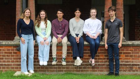 Group image of Felsted School students who are delighted with their GCSE results 2021, Felsted, Essex
