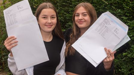Students celebrating their GCSE results at St Katherine's School, Pill. Issy Prime and India Sydenha