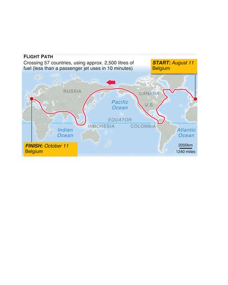 The route Zara Rutherford will take when she attempts her solo flight around the world