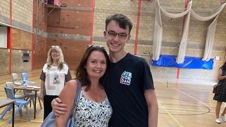 Students at Ernulf Academy in St Neots celebrate results.