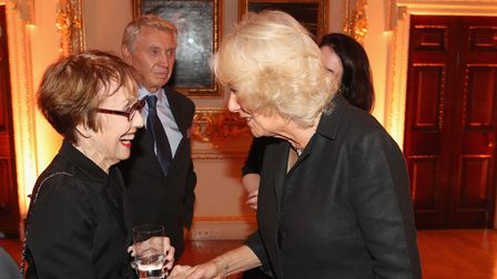 The Duchess of Cornwall meets Una Stubbs at the Royal Academy of Arts to launch the RA250 Friends Membership scheme in 2017.