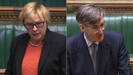 Angela Eagle and Jacob Rees-Mogg clash in the House of Commons. Photograph: Parliament TV.
