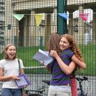 Students celebrate at Clapton Girls' Academy.