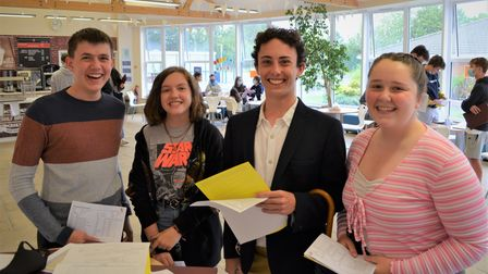 Beaumont School pupils celebrate their GCSE results.
