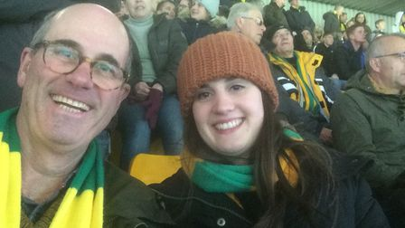 Rex Barker with his daughter Georgia enjoying a Norwich City game at Carrow Road in the past