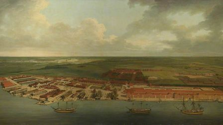 Chatham Dockyardby Joseph Farington (1747-1821), oil on canvas painting commissioned in 1785 by the Navy Board