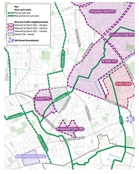 The Amwell LTN in the context of nearby schemes