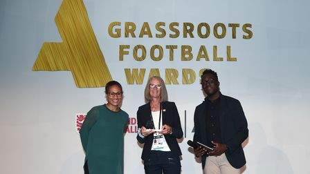 LONDON, ENGLAND - AUGUST 07: Rachel Yankey presents Wendy Benson with the Grassroots Coach of the ye
