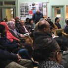 Crowds fill St Patrick's church hall to hear about the future of St Raphael's Estate. Picture: Natha