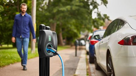 A smart electric vehicle charging point.