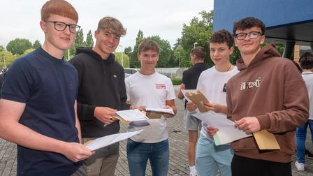 Students celebrating their GCSE results at Nailsea School.