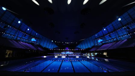 A general view of the London Aquatics Centre under the lights