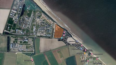 Bacton showing Seagull's Field in red betweenthe gas