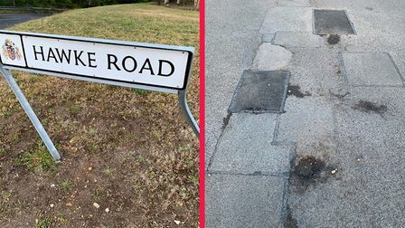 Hawke Road has 142 defects, figures from Suffolk County Council have revealed.