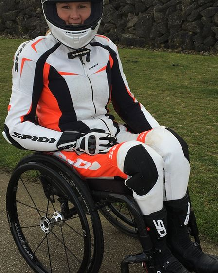 Claire Lomas is aiming to complete the London Marathon in full motorcycling gear