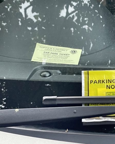 A ticket and PCN on the dashboard of Jay Sadler's car